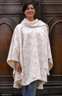 Alpaca blend ruana cape, 'Snow Flowers'   Artisan Crafted Women's Alpaca Wool Ruana Cape Pullover Sweaters