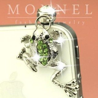ip448 Cute Green Crystal Frog Anti Dust Plug Cover Charm For iPhone Android Cell Phones & Accessories
