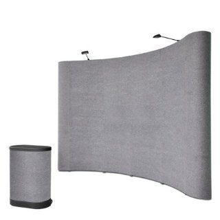 10 Ft x 8 Ft Trade Show Booth Pop up Display Stand with Podium   Gray  Office Racks And Displays