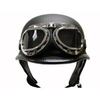 Flat Matte Black German Style Motorcycle Cruiser Touring Scooter Half Helmet DOT with Pilot Goggles (Medium) Automotive
