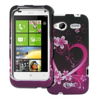 EMPIRE HTC Radar 4G Purple Hearts with Flowers Rubberized Design Hard Case Cover [EMPIRE Packaging] Cell Phones & Accessories