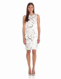 London Times Women's Side Rouched Printed Dress, Khaki White, 4