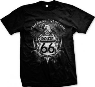 Route 66 American Tradition Mens T shirt, Bald Eagle Route 66 Sign Men's Tee Shirt Clothing