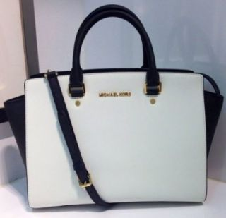 Michael Kors Selma Large White / Black Top Zip Leather Satchel 30T3MLMS7T NEW Shoes
