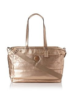 Coach Signature Stripe Metallic Leather Baby Bag, Gold  Diaper Tote Bags  Baby