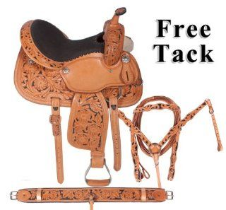 Hand Carved Leather Barrel Racing Western Horse Saddle On Sale15 16  Sports & Outdoors