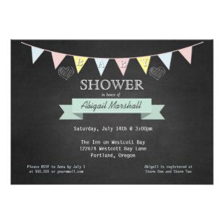 Chalkboard and Bunting Gender Neutral Baby Shower Personalized Invitation