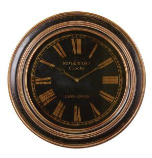 Round Rustic Brown Roman Numeral Wall Clock 32""