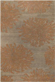 Surya Bombay BST 495 Contemporary Hand Tufted 100% New Zealand Wool Tawny Brown 8' Round Floral Area Rug   Machine Made Rugs
