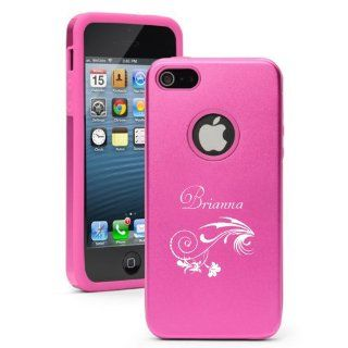 Pink Aluminum & Silicone Case for Iphone 5/5s, Girls Name Brianna, Flower Laser Engraved Cell Phones & Accessories