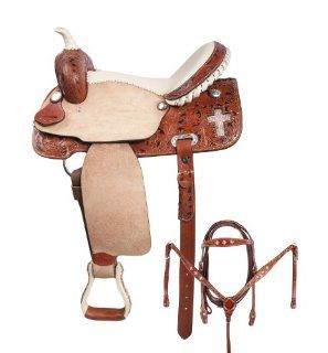 Crystal Cross Leather Barrel Racing Western Horse Saddle Bling 15 16  Sports & Outdoors