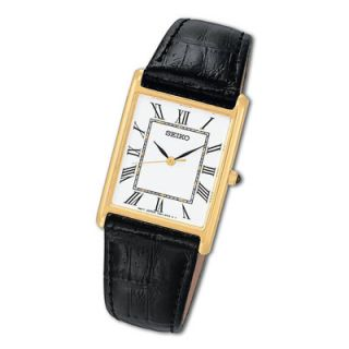 online only men s seiko black leather strap watch with white dial