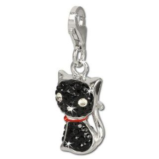 SilberDream Glitter Charm cat with black Czech crystals 925 Sterling Silver Charms Pendant with Lobster Clasp for Charms Bracelet, Necklace or Earring GSC506S SilberDream Jewelry