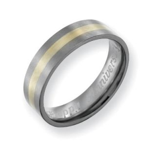 Mens 6.0mm Engraved Titanium with 14K Gold Inlay Flat Wedding Band