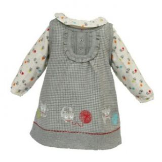 "Tuc Tuc ""Le Chat"" Baby Girl Set. Jumper dress, T shirt & Tights. Grey. Size 12m Clothing"
