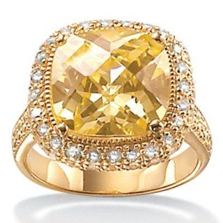 Royal Palm Jewelry 3967410 4.54 Carat Cushion Cut Canary Colored Cubic Zirconia 18k Yellow Gold Over Sterling Silver Ring   Size 10 Royal Palm Jewelry Jewelry