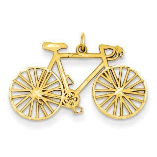 14k Yellow Gold Polished Bicycle Charm Clasp Style Charms Jewelry