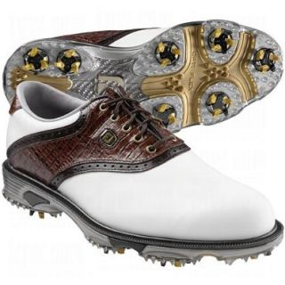 FootJoy Mens DryJoys Tour Saddle Golf Shoes White/Chestnut Lizard 8 Shoes