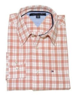 Tommy Hilfiger Men Dress Shirt (XS, White/burnt orange) at  Men�s Clothing store