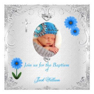Baby Boy Blue White Christening Baptism Cross Custom Announcement