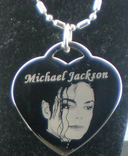 Michael Jackson TRIBUTE PLAIN HEART Shaped tag necklace