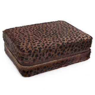 Brown Cheetah Print Faux Fur Four Slot Watch Box Watches