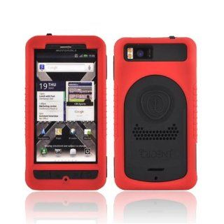 For Motorola Droid X MB810 X2 Red Black OEM Trident Cyclops II Anti Skid Hard Silicone Case Cover w Screen Protector Cell Phones & Accessories