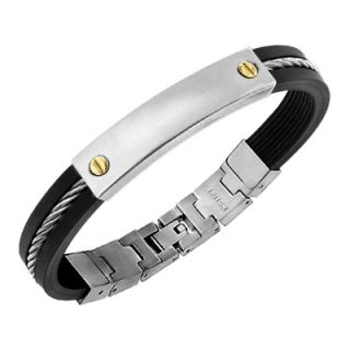 Triton Mens Stainless Steel and Rubber Bracelet with 14K Gold Accents