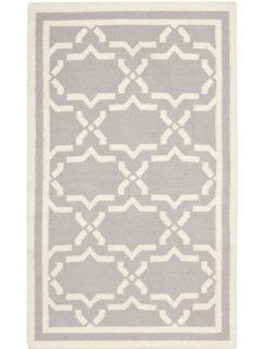Safavieh Dhurrie Collection DHU545G 6 Handmade Wool Area Rug, 6 by 9 Feet, Grey/Ivory   Wool Rug Gray