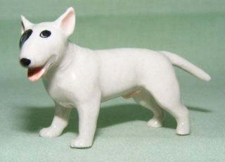 BULL TERRIER Dog White w/Black Eye Stands Target Dog New MINIATURE Figurine Porcelain KLIMA K546A   Collectible Figurines
