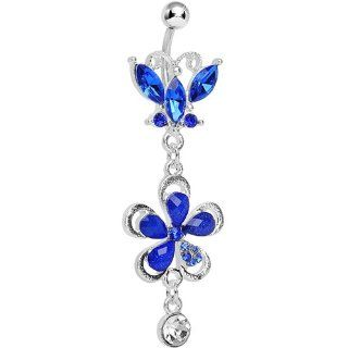 Dark Blue Gem Butterfly Flower Drop Belly Ring Body Candy Jewelry