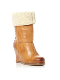 Dune Rocha Faux Fur Crepe Sole Wedge Boots