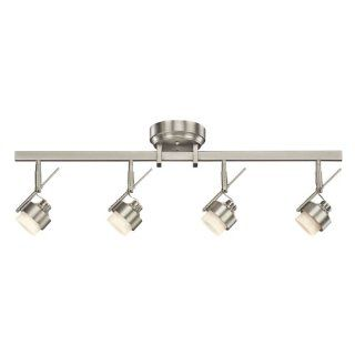 Kichler Lighting 10326NI 4 Light LED Energy Star Fixed Rail Directional Light, Brushed Nickel with Satin Etched Glass   Close To Ceiling Light Fixtures