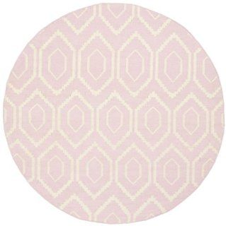 Safavieh DHU556C Dhurrie Collection Handmade Wool Round Area Rug, 6 Feet Diameter, Pink and Ivory