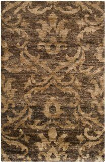 5' x 8' Caribbean Celebration Champagne and Sepia Area Throw Rug   Hand Knotted Rugs