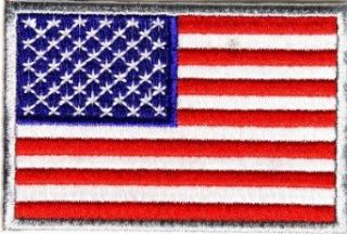 "Embroidered Iron On Patch   American Flag Patch Silver Border 3"" x 2"" Patch Clothing"