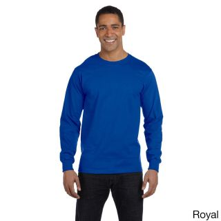 Gildan Mens Dry Blend Long Sleeve T shirt Blue Size XXL