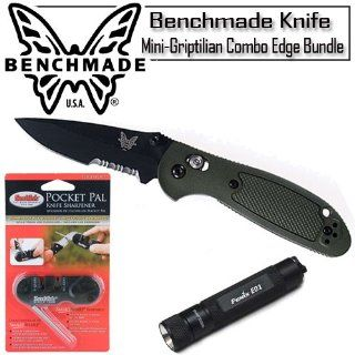 Benchmade 556SBKOD Mini Griptilian Combo Edge Olive Folding Knife With Knife Sharpener And Mini LED Flashlight  Hunting Folding Knives  Sports & Outdoors