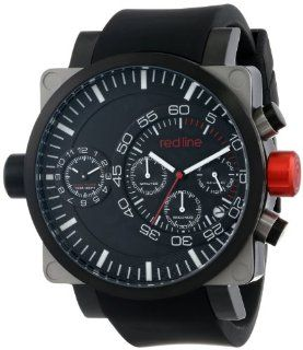red line Men's RL 50048 SS BB 01 BK Dual Timer Chronograph Black Dial Black Silicone Watch Watches
