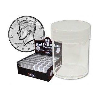 COIN STORAGE TUBES, round clear plastic w/ screw on tops for HALF DOLLARS (Quantity of 25 tubes)