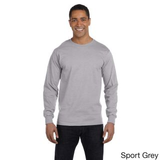 Gildan Mens Dry Blend Long Sleeve T shirt Grey Size XXL