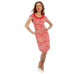 Isaac Mizrahi Live Printed Knit Knot Detailed Dress —