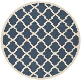Easy to maintain Safavieh Indoor/outdoor Courtyard Navy/beige Rug (53 Round)