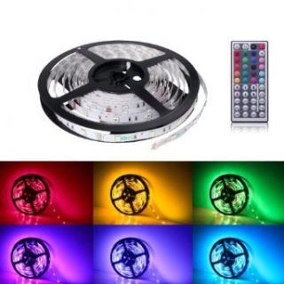 LE 12V Flexible RGB LED Strip Light Kit, LED Tape, Multi colored, 150 Units 5050 LEDs, Non waterproof, Adhesive Light Strips, Pack of 5M