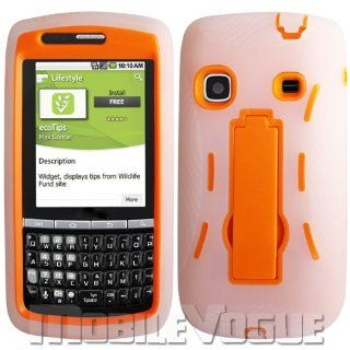 Samsung Replenish/M580 Clear/Orange Combo Silicone Case + Hard Cover + Kickstand Hybrid Case Boost Mobile/Sprint Cell Phones & Accessories