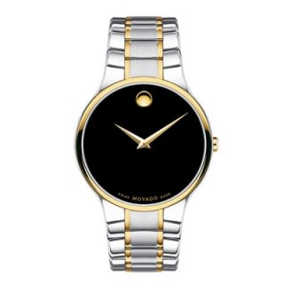 Mens Movado Serio Two Tone Stainless Steel Watch with Black Dial