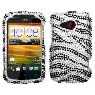IMAGITOUCH(TM) HTC Desire C Black Zebra Skin Full Diamond Bling Hard Case Protector Faceplate Cover 3 Item Combo (Stylus Pen, Pry Tool, Phone Cover) Cell Phones & Accessories