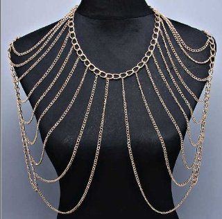 "Celebrity Style 20""L Shoulder Gold Body Chain Necklace Jewelry"