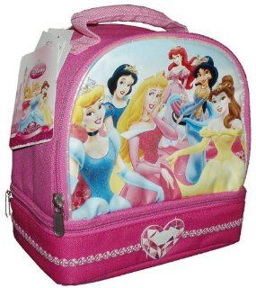 Disney Princess Pink Color Soft Insulated Lunch Bag/Box with 2 Compartments (0246) Sports & Outdoors