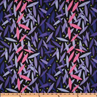 44'' Wide Jane Sassaman Early Birds Leaf Dance Plum Fabric By The Yard